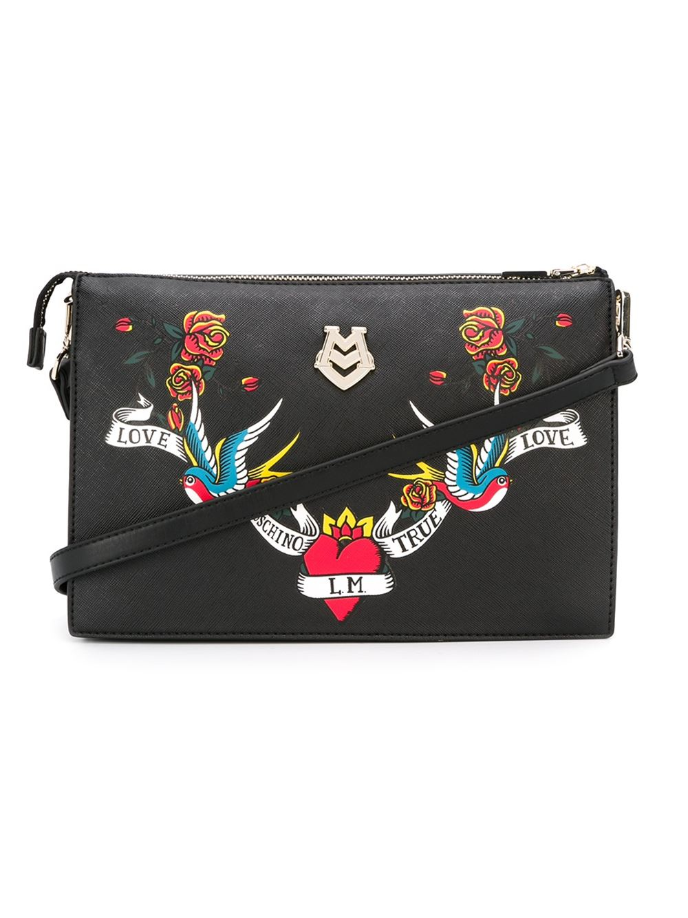 love moschino embroidered tattoo bag in black
