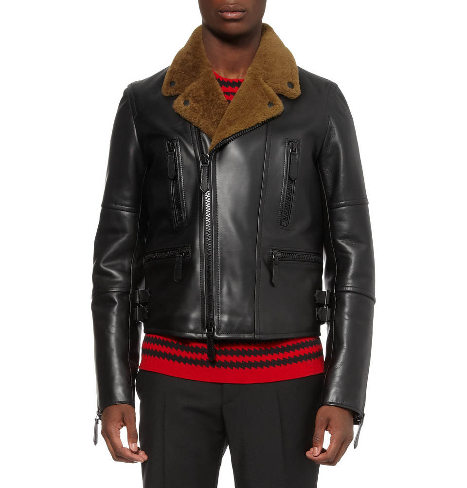 Lyst Burberry Prorsum Leather And Shearling Jacket In