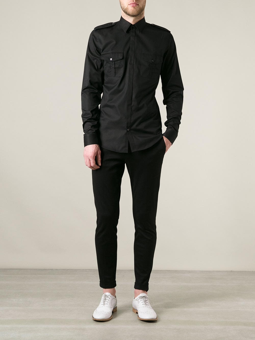 Lyst Gucci Military Style Shirt In Black For Men