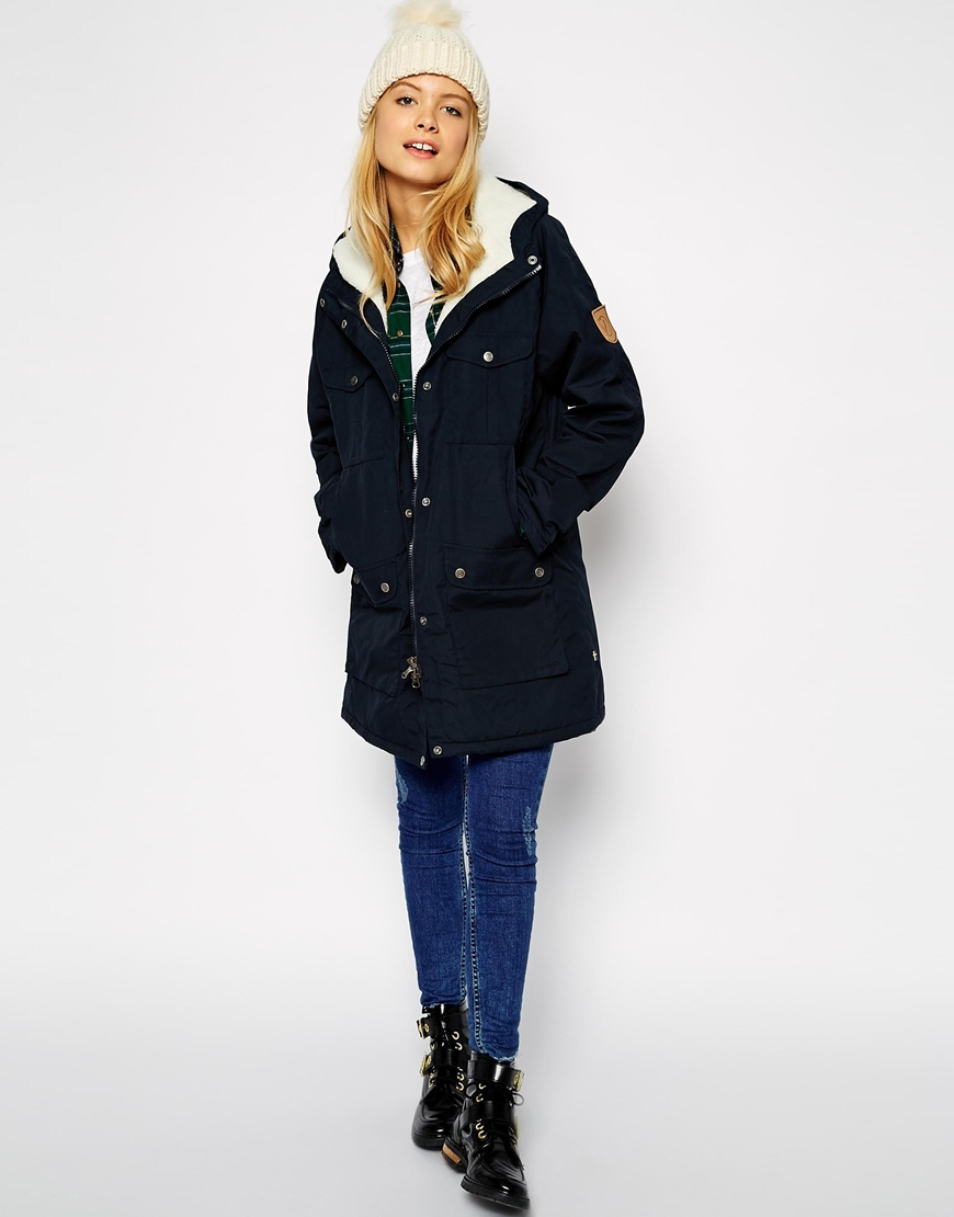 Fjallraven Hooded Parka Coat With Shearling Lining in Blue | Lyst