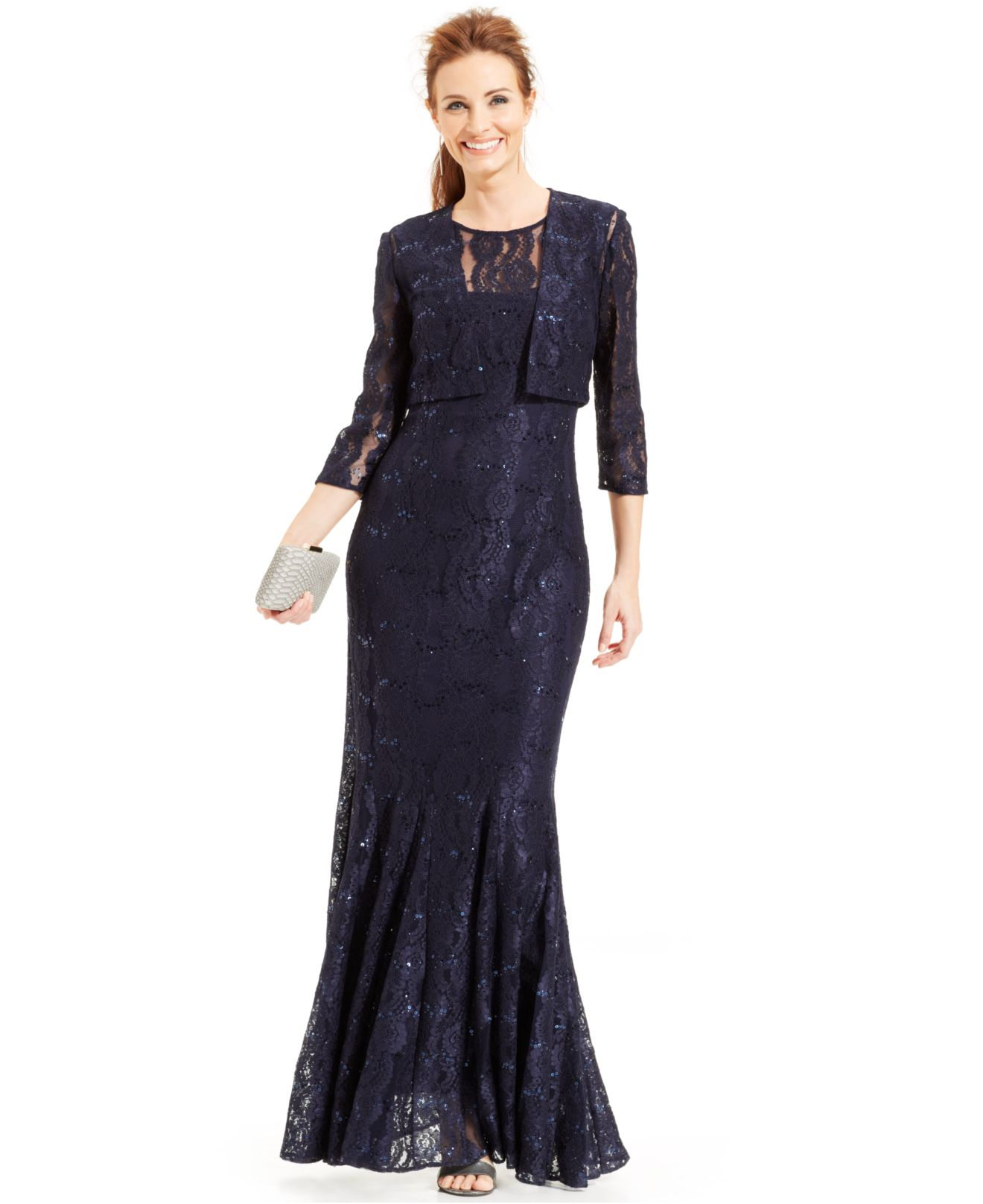 Alex Evenings Sequin Lace Mermaid Gown And Jacket In Blue