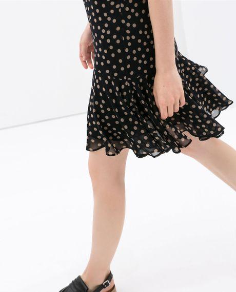 Zara Thin Strap Polka Dot Dress In Black Lyst