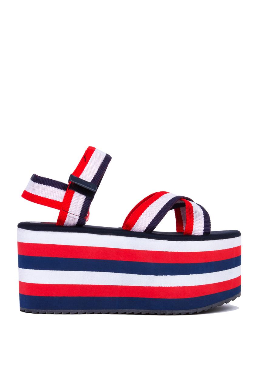 Lyst Yru Prizm Flatform Sandals Red White Blue In Red