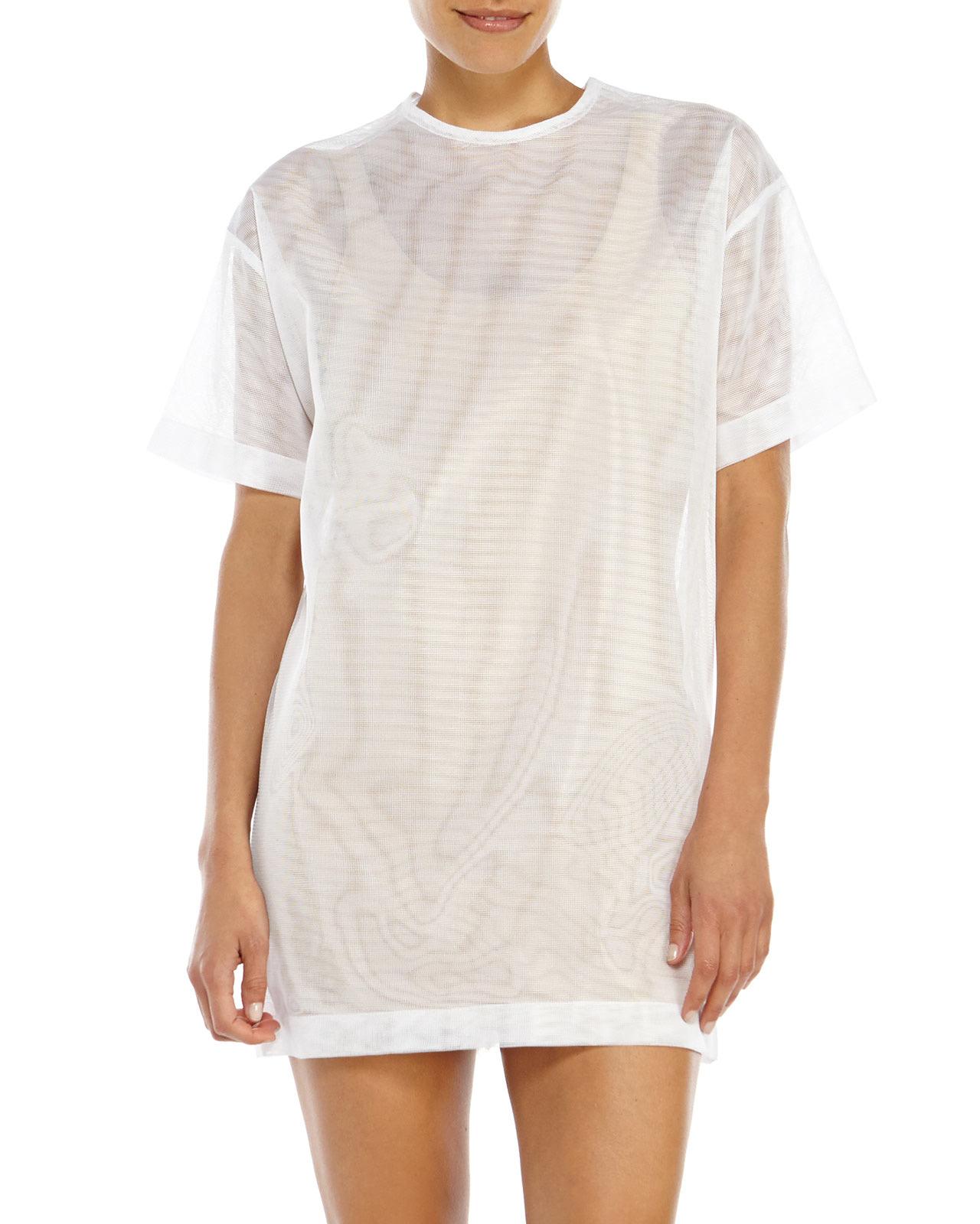 Jacquemus White Mesh T-Shirt Dress in White | Lyst