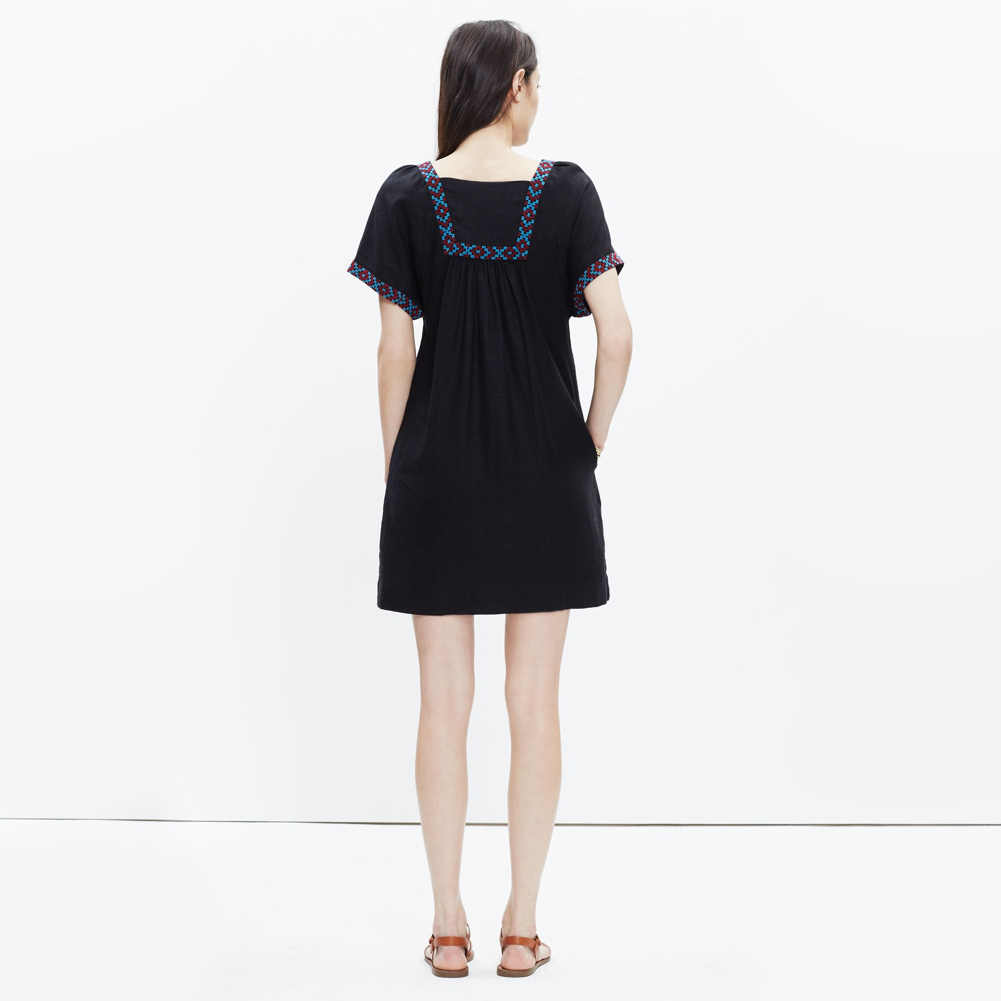 12436d09c9 Lyst - Madewell Embroidered Wander Dress in Black