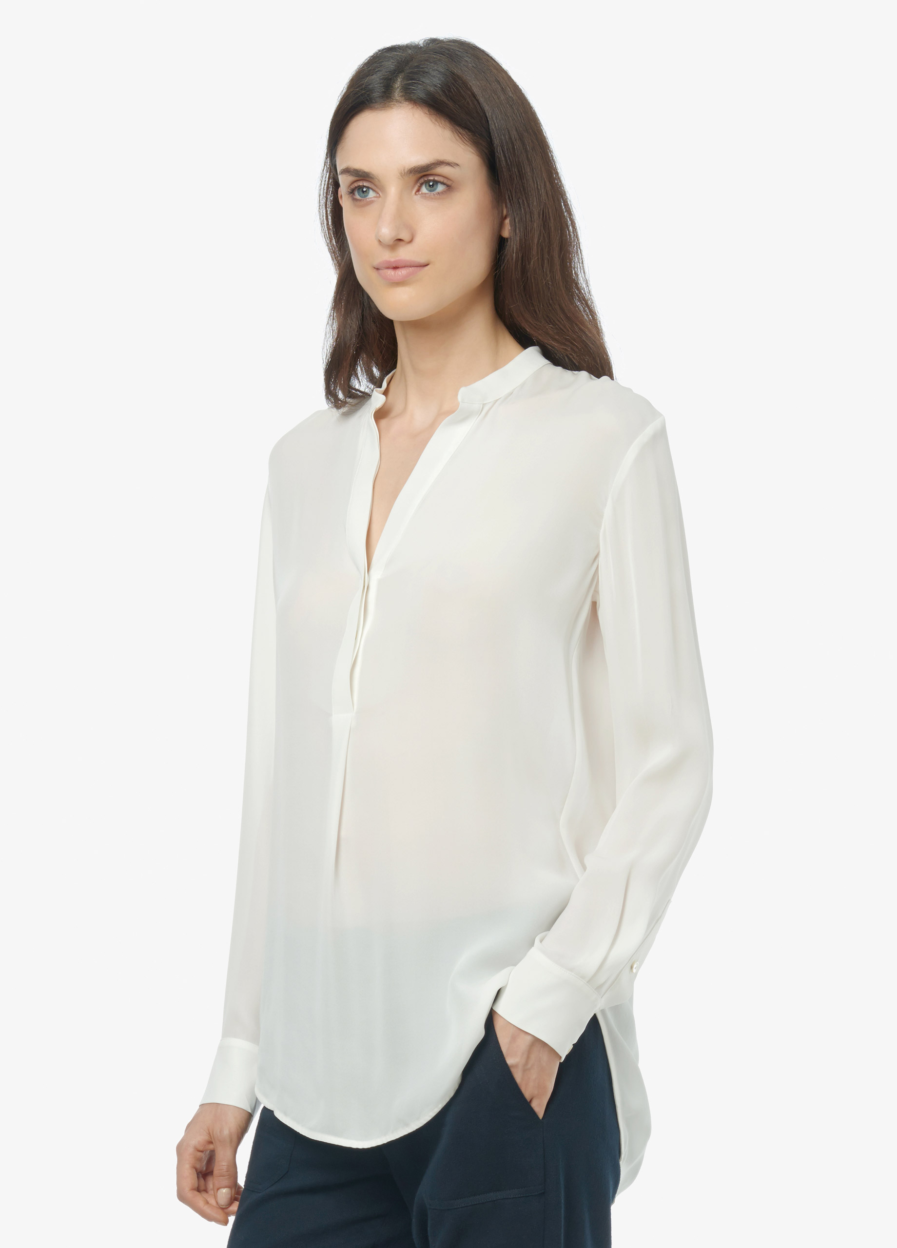 15e6f5d3277364 Lyst - Vince Silk Half Placket Long Sleeve Tunic in White