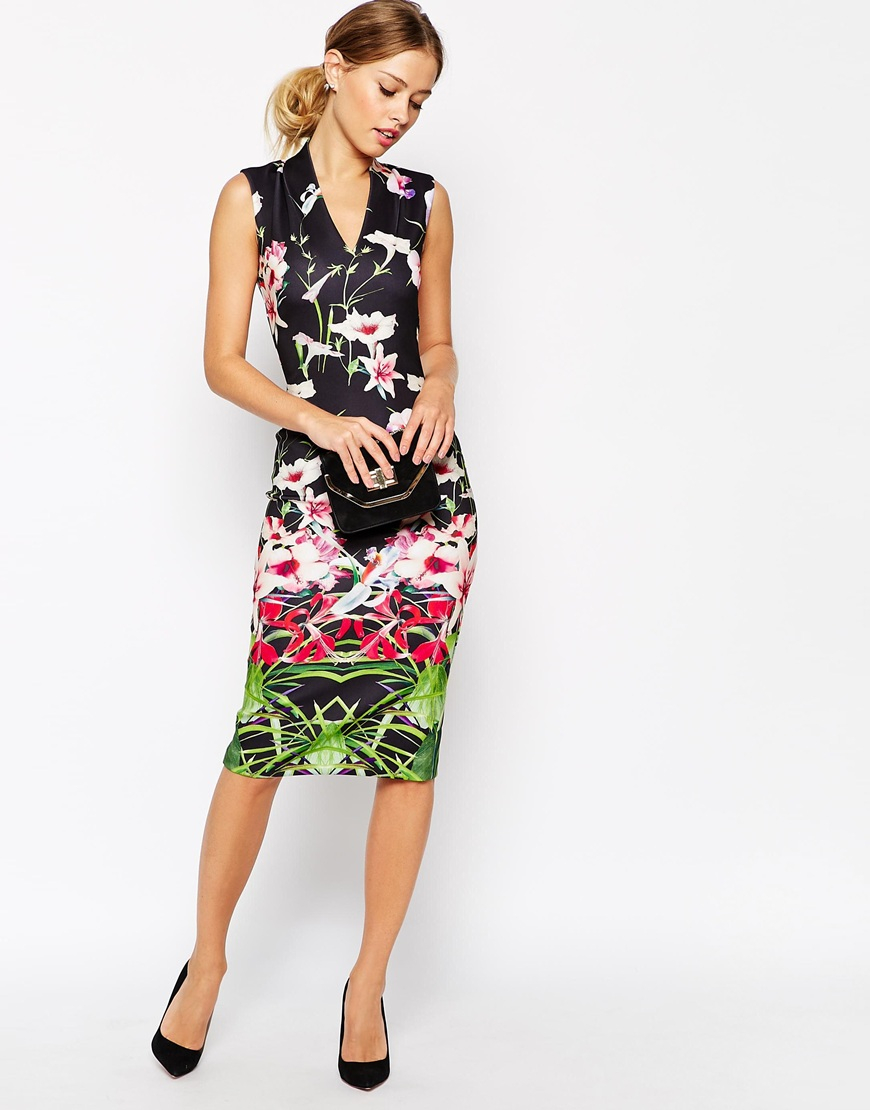 18d4fa0b51b1 Lyst - Ted Baker Midi Dress In Mirrored Tropical Print in Black