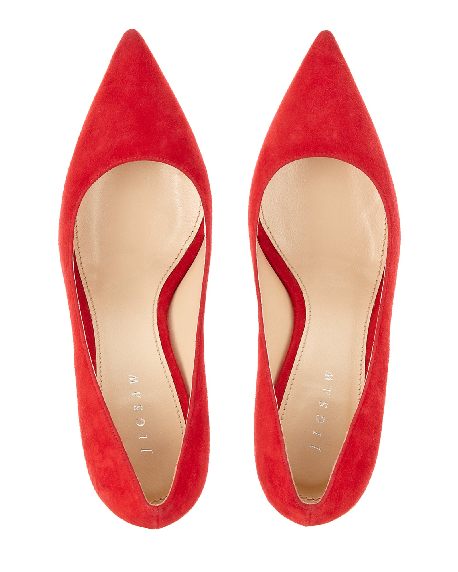 Red Suede Kitten Heels - Is Heel