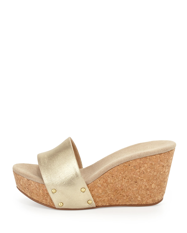 Splendid Greenville Wedge Slide Sandals Gold In Gold 7