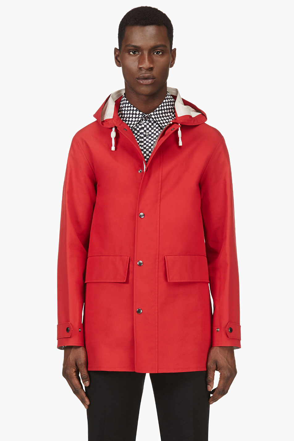 Lyst Burberry Prorsum Hooded Rain Coat In Red For Men
