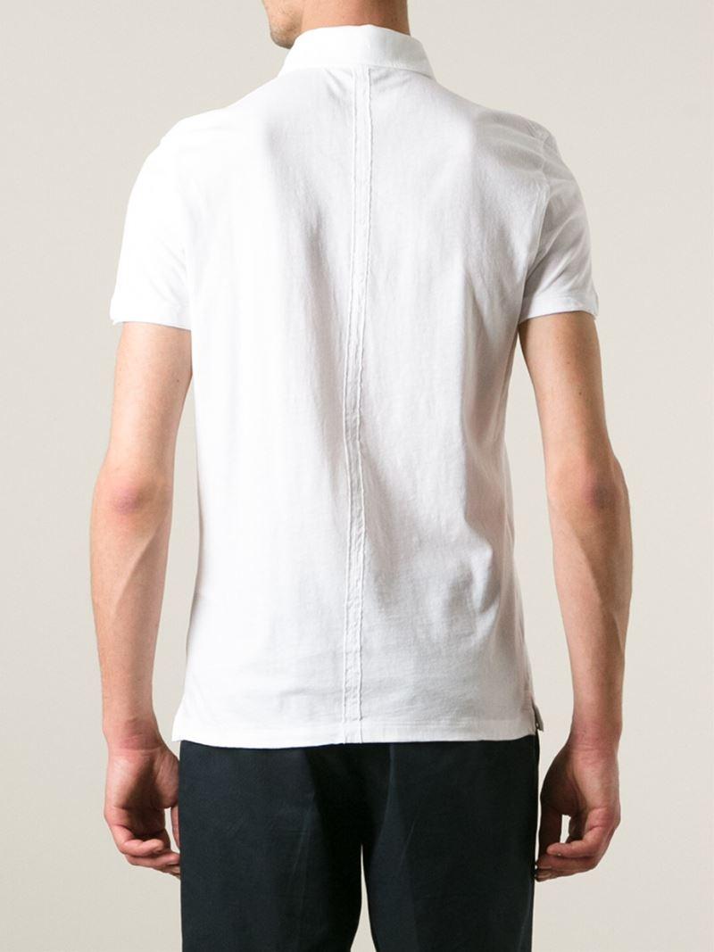 Paolo pecora round collar polo shirt in white for men lyst for Round collar shirt men