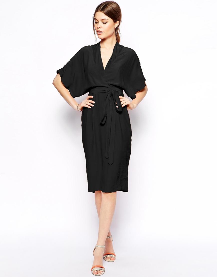 Asos Pencil Dress With Kimono Wrap in Black   Lyst