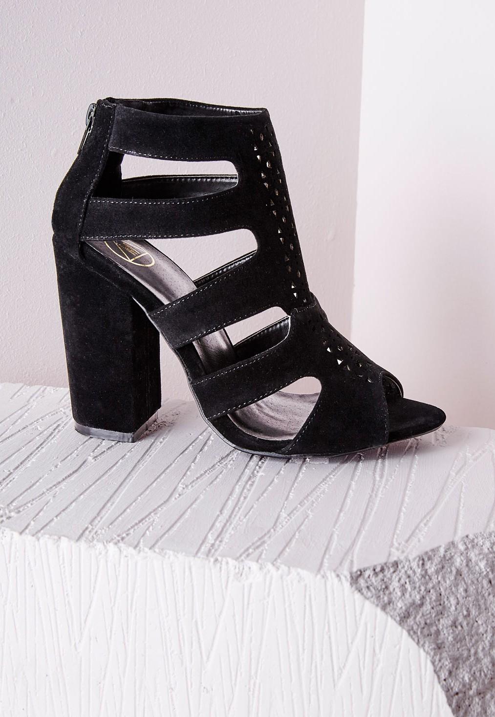 d68aaa8ae59 Missguided Block Heel Gladiator Sandals Black in Black - Lyst