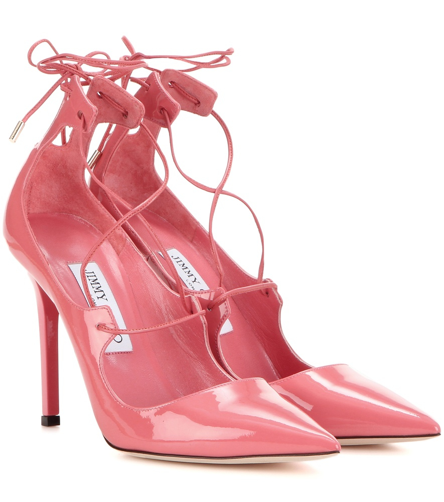 bf306961ed9 Lyst - Jimmy Choo Vita 100 Patent Leather Lace-up Pumps in Pink