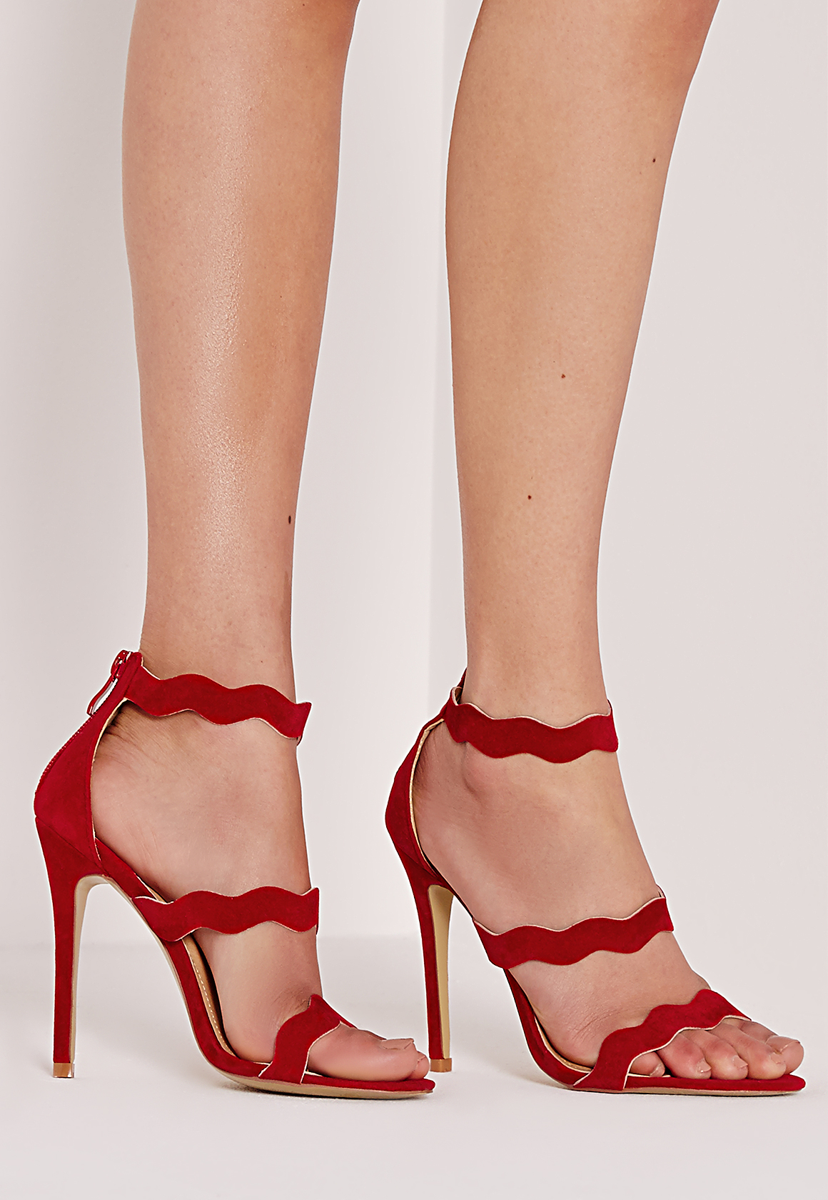 afe628fe404f Lyst - Missguided Wave Three Strap Barely There Sandal Red in Red