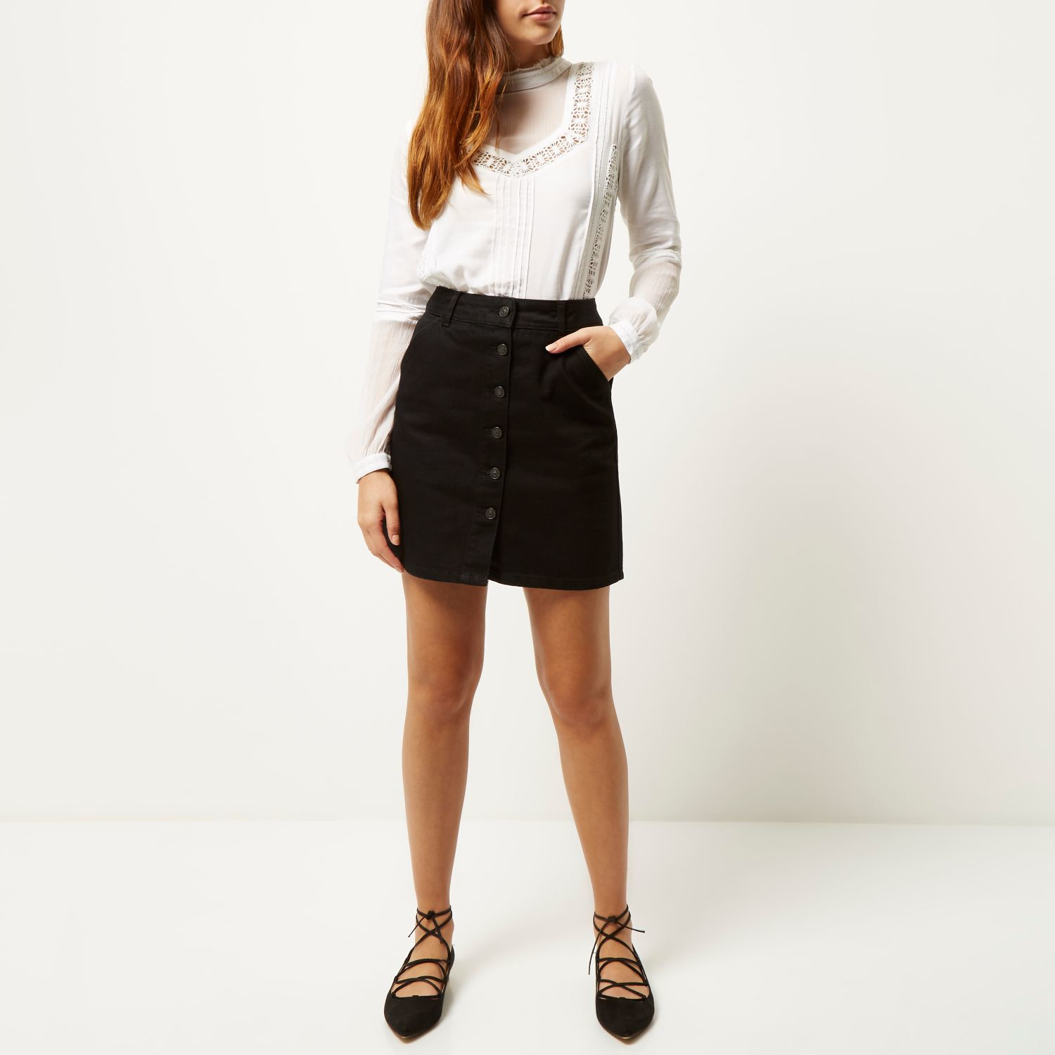 River island Black Denim Button-up A-line Skirt in Black | Lyst
