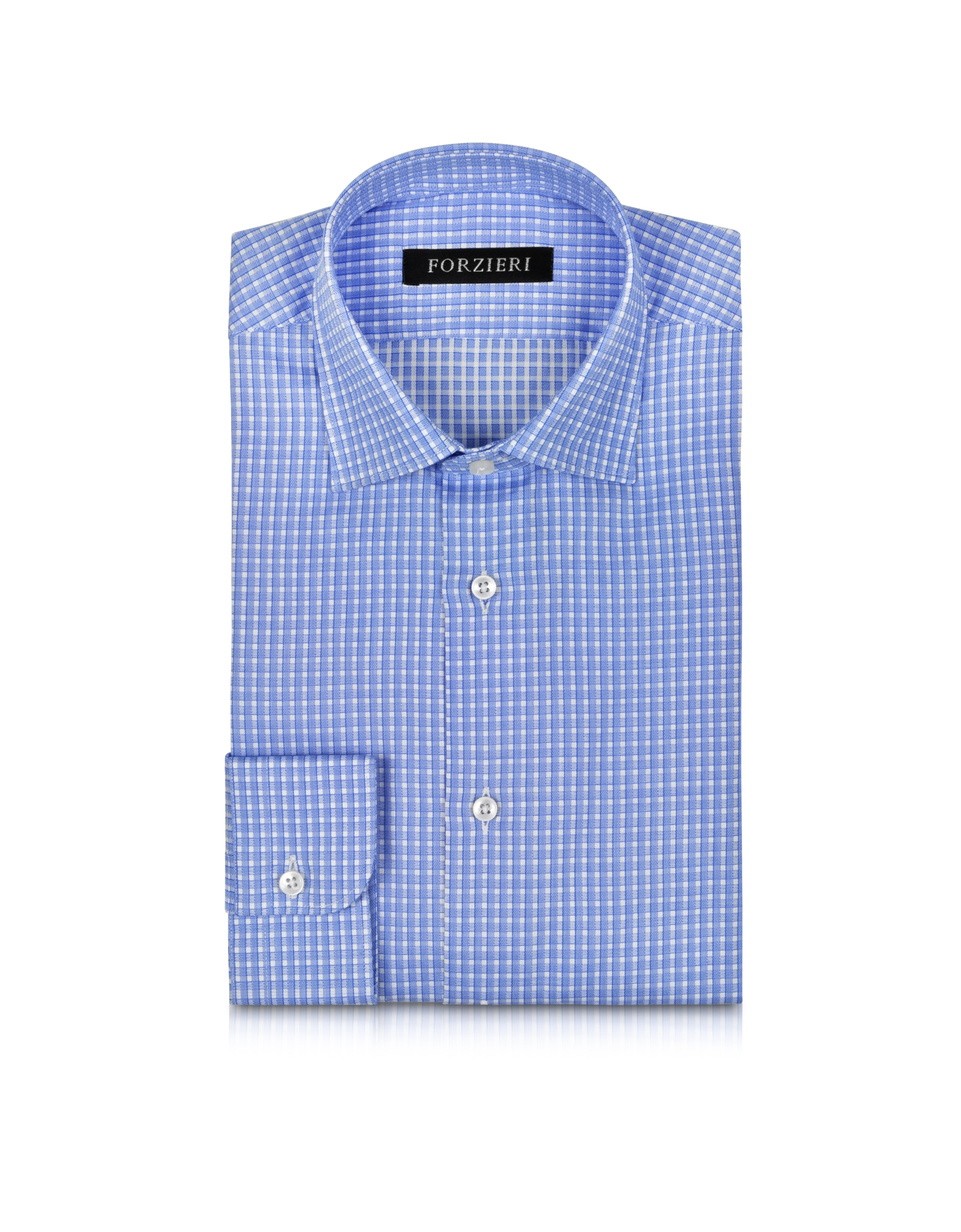 Forzieri Light Blue Checked Non Iron Cotton Slim Fit Men's ...