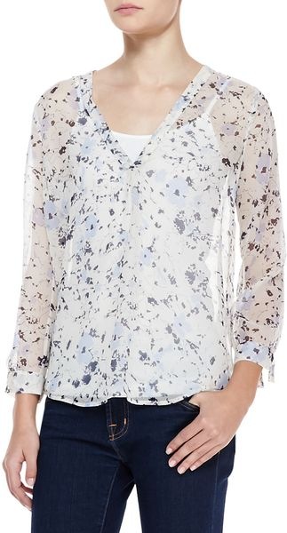 Joie Lerona Sheer Floralprint Blouse in Blue (DARK NAVY) - Lyst