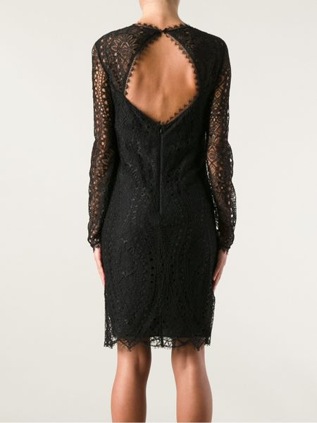 Emilio Pucci Long Sleeve Lace Dress In Black Lyst