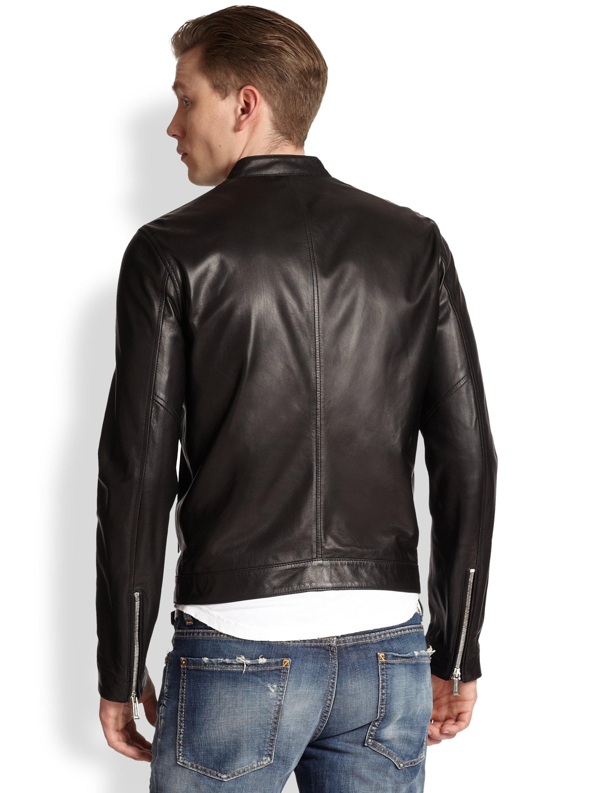 Dsquared² Lambskin Leather Jacket in Black for Men | Lyst