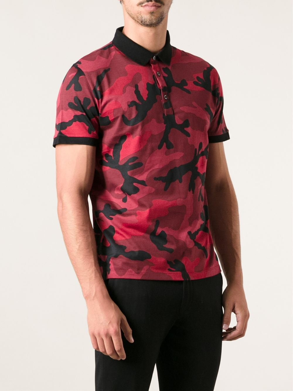 Lyst valentino camouflage polo shirt in red for men for Camo polo shirts for men