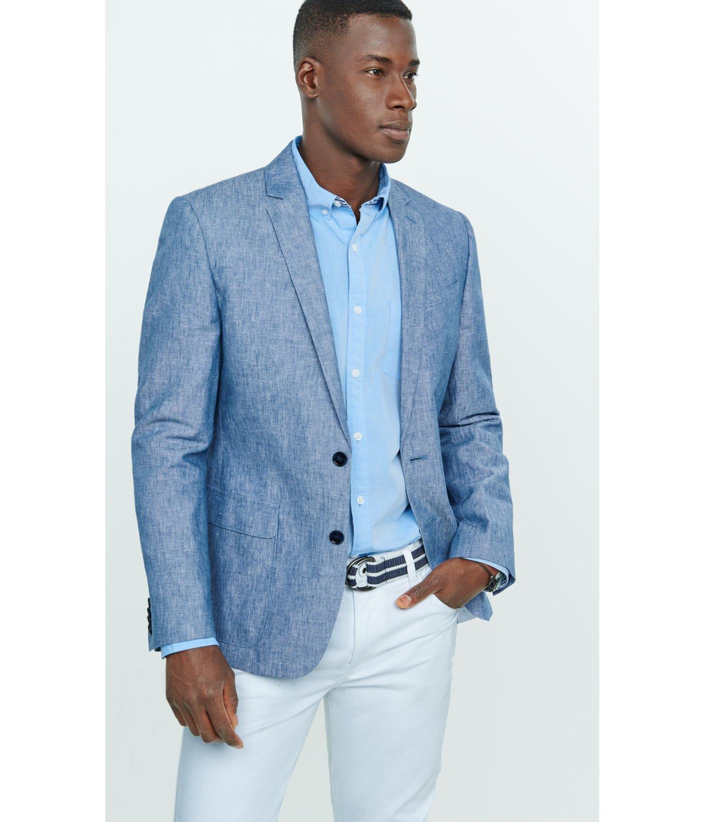 26d2330a6d Lyst - Express Slim Photographer Linen-cotton Blue Blazer in Blue ...