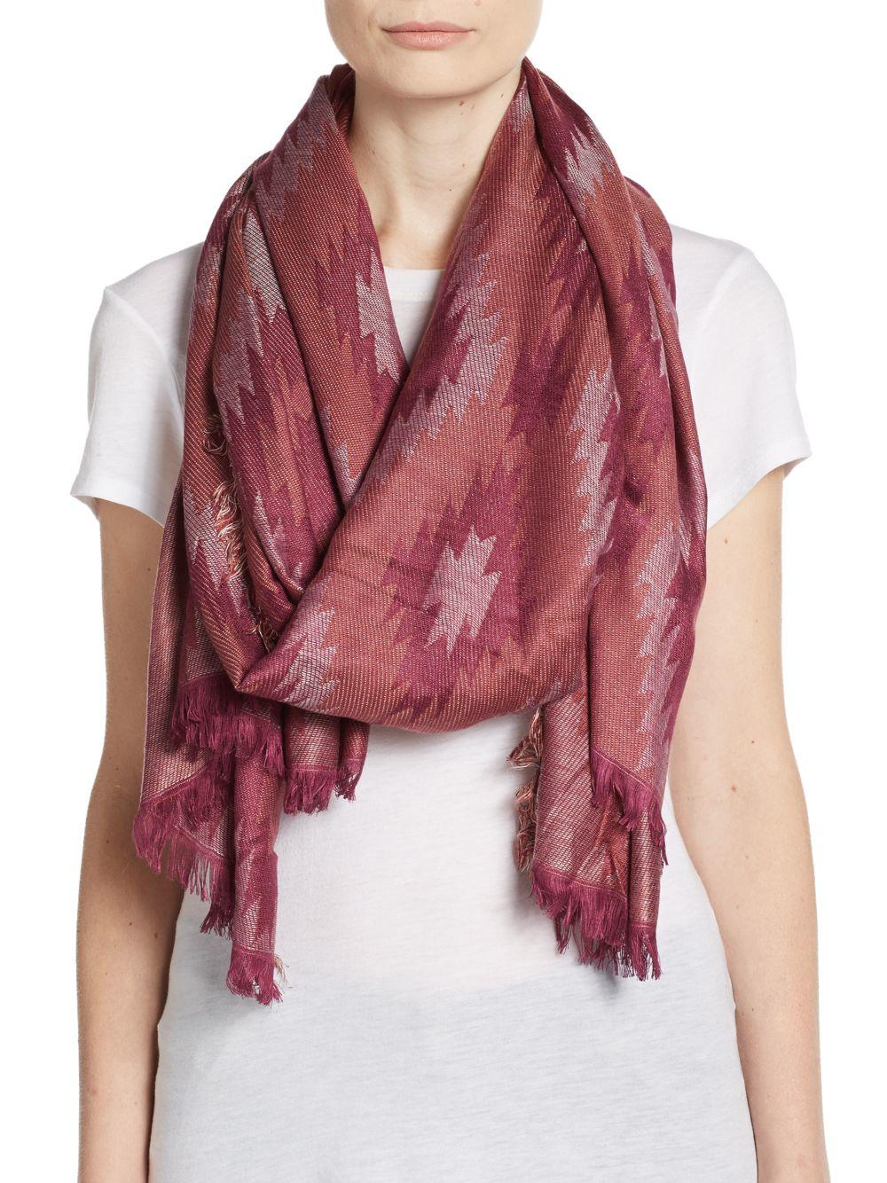 saks fifth avenue geo blanket scarf in gold copper lyst