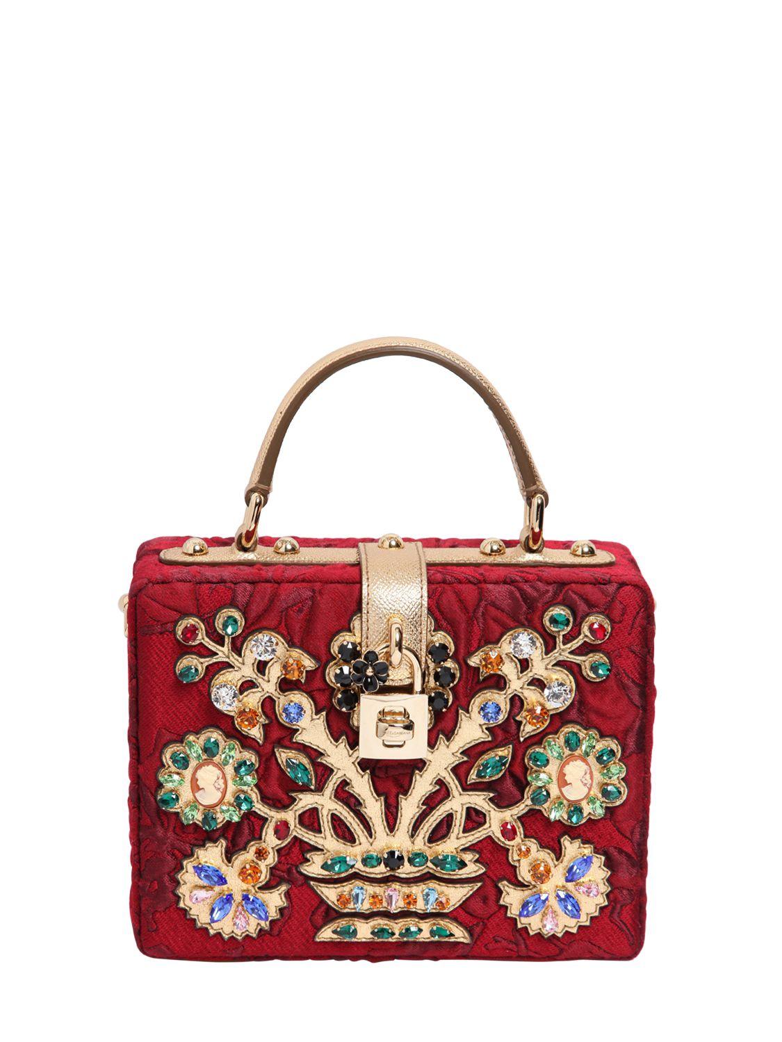 223433e1f7 Lyst - Dolce   Gabbana Embellished Brocade Dolce Bag in Red
