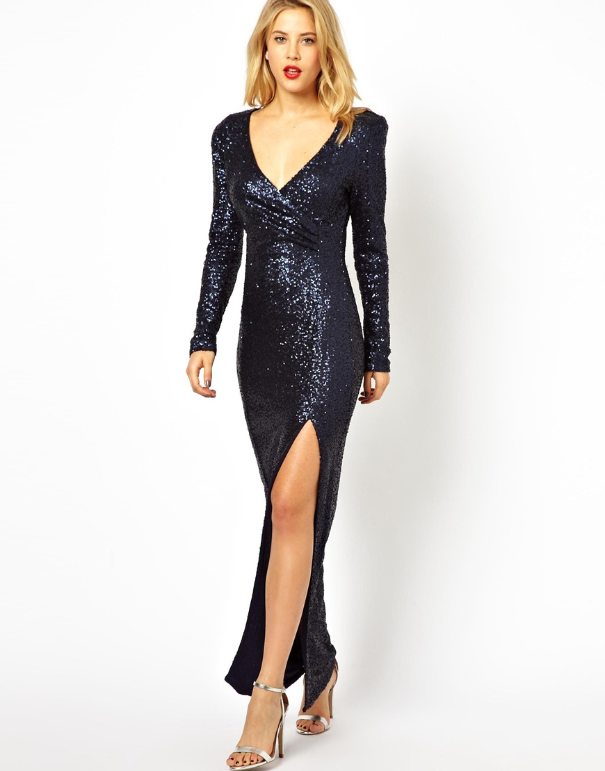 fe89a0ef5f7 AX Paris Sequin Maxi Dress with Thigh Split in Blue - Lyst