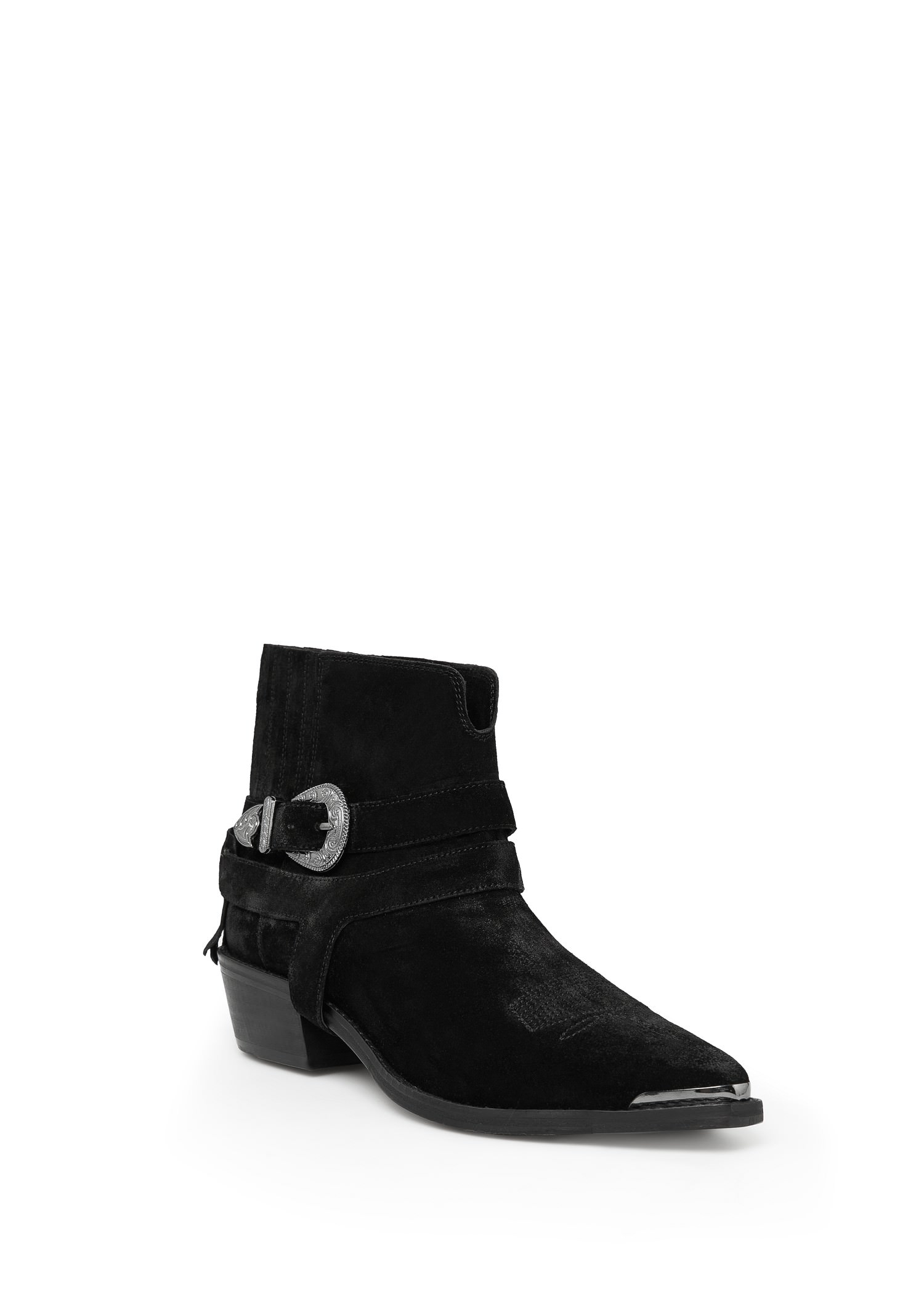 Mango Buckle Suede Ankle Boots in Black | Lyst