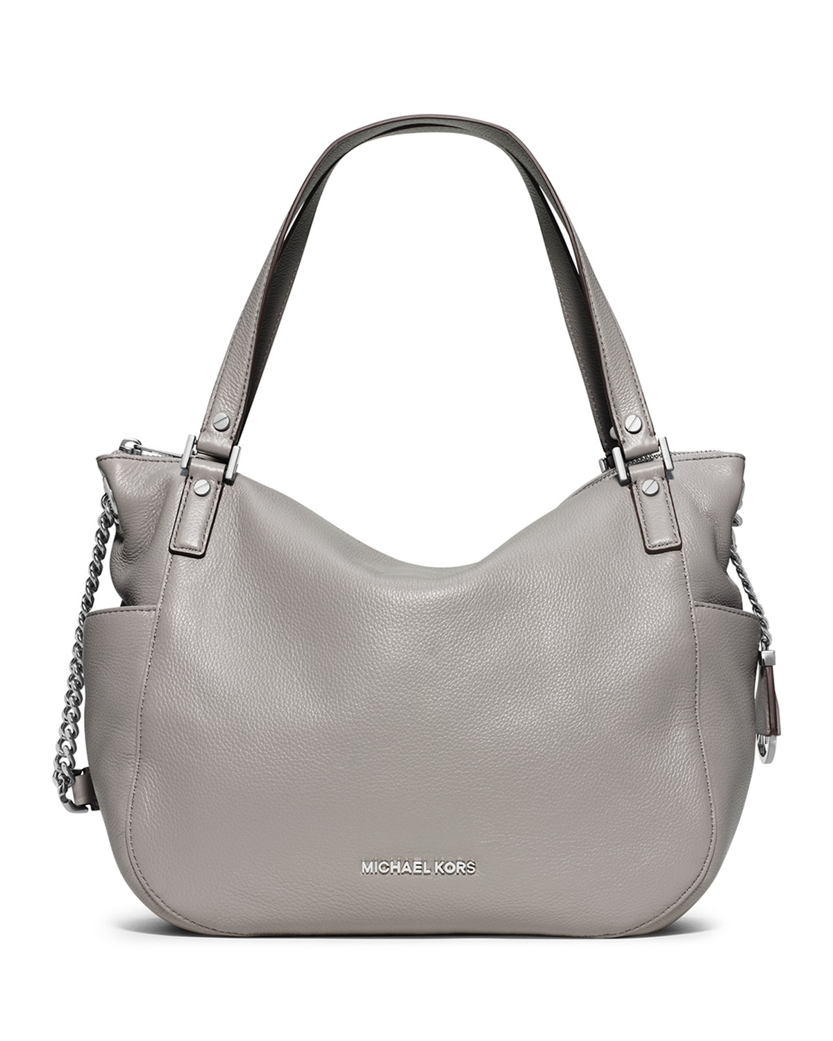 4eebbe1ab157f ... denmark lyst michael michael kors chandler large leather shoulder bag  in gray 341a9 d2b9a