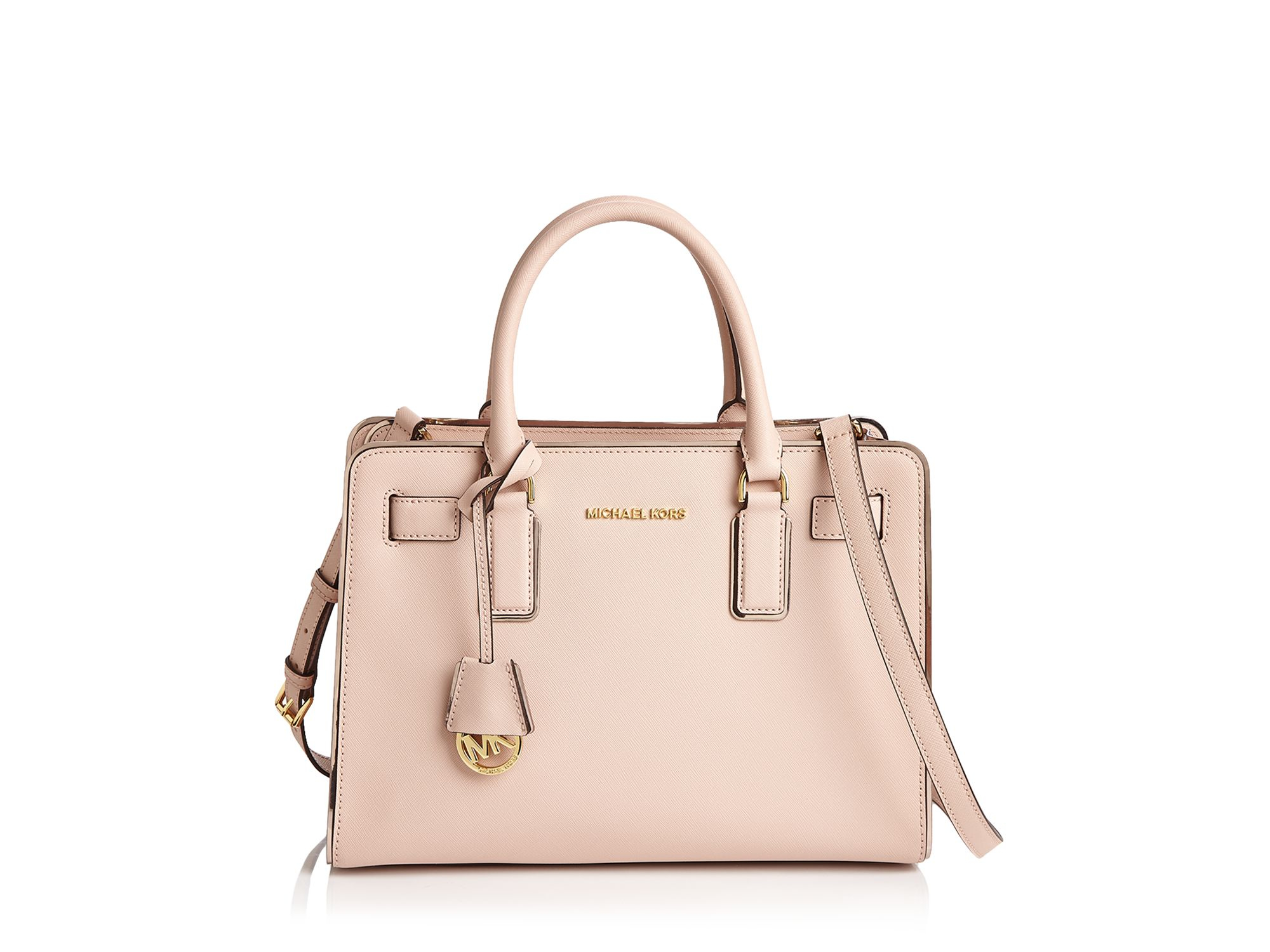 75881efb6cce ... hot lyst michael michael kors dillon saffiano leather satchel in pink  4cdc3 2883f ...