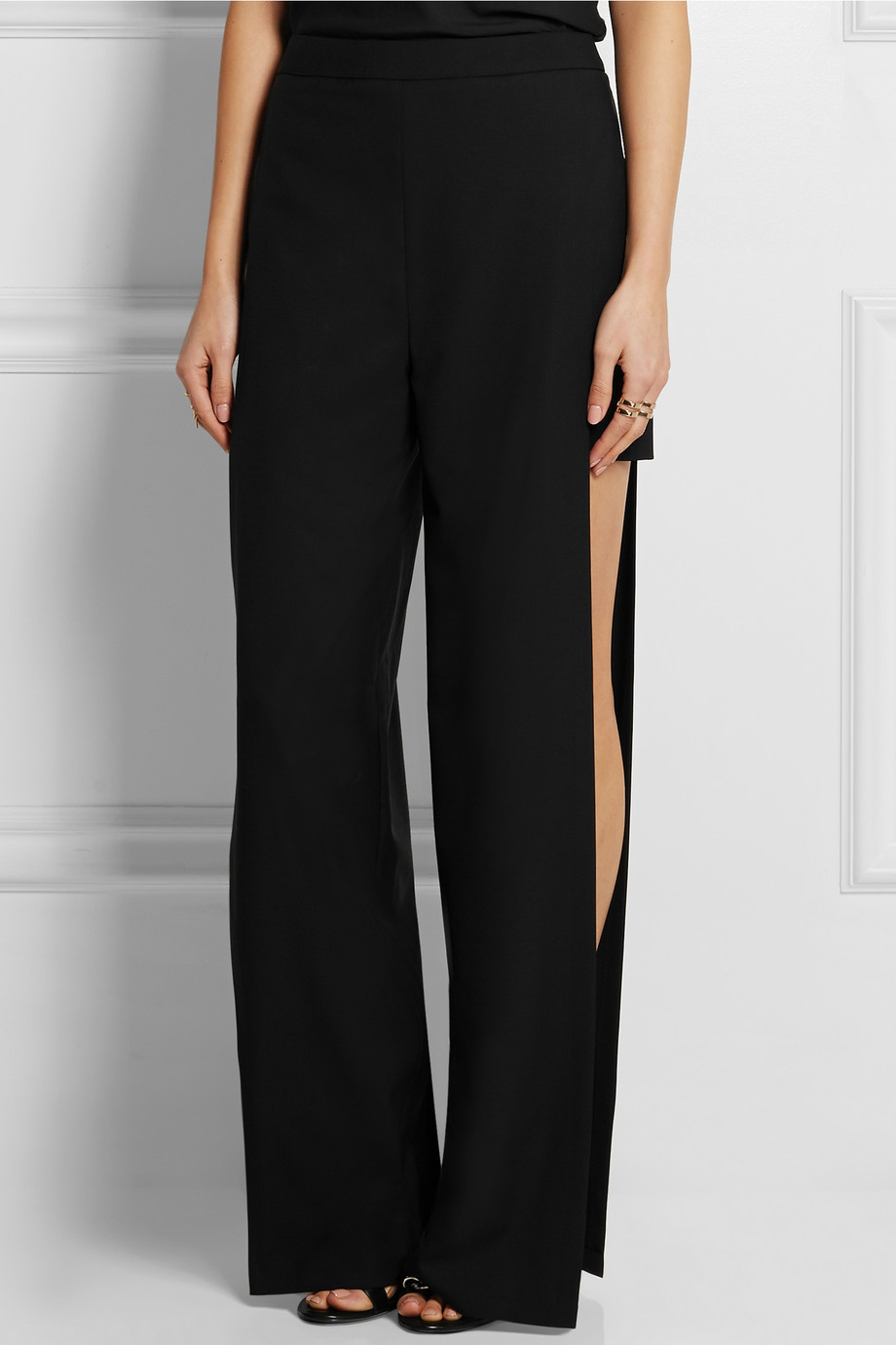 Lyst Chalayan Split Side Wool Wide Leg Pants In Black