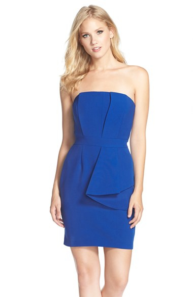 Adelyn rae Layered Strapless Sheath Dress in Blue | Lyst