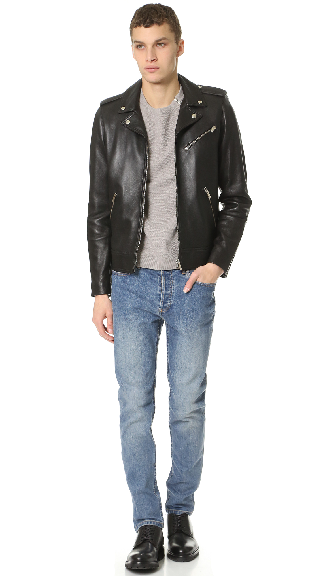 fe7535e75e The Kooples Thick Lamb Leather Jacket in Black for Men - Lyst