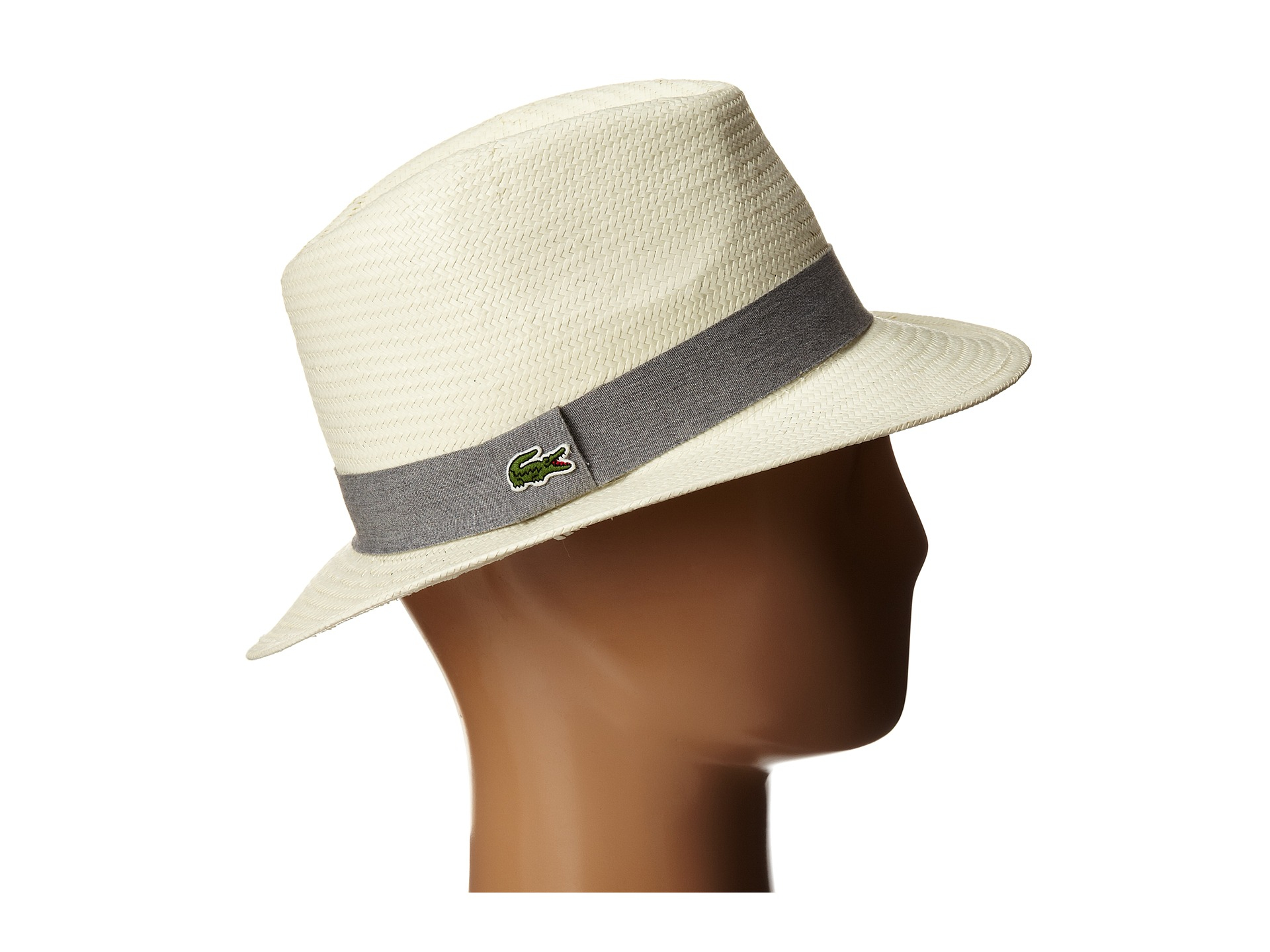 Lyst - Lacoste Straw Fedora Hat in Metallic 4a1dd112e2d
