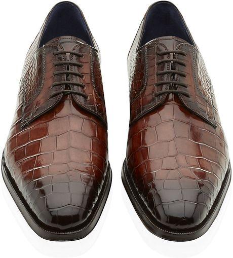 Magnanni Alligator Derby Shoe In Black For Men Alligator