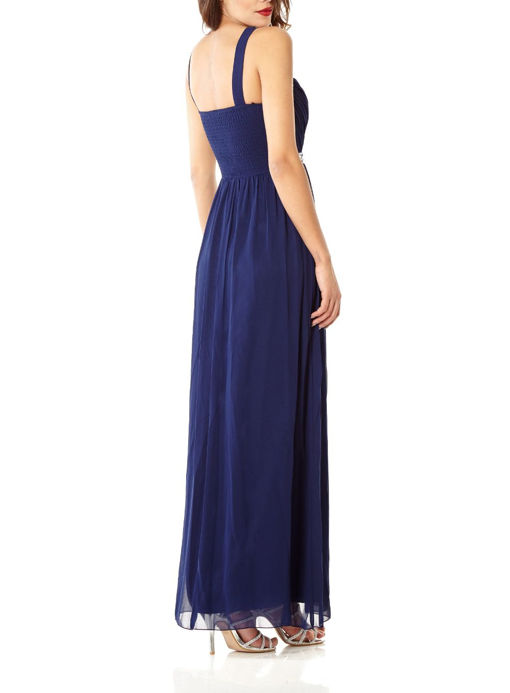Lyst Quiz Navy Sweetheart Maxi Dress In Blue