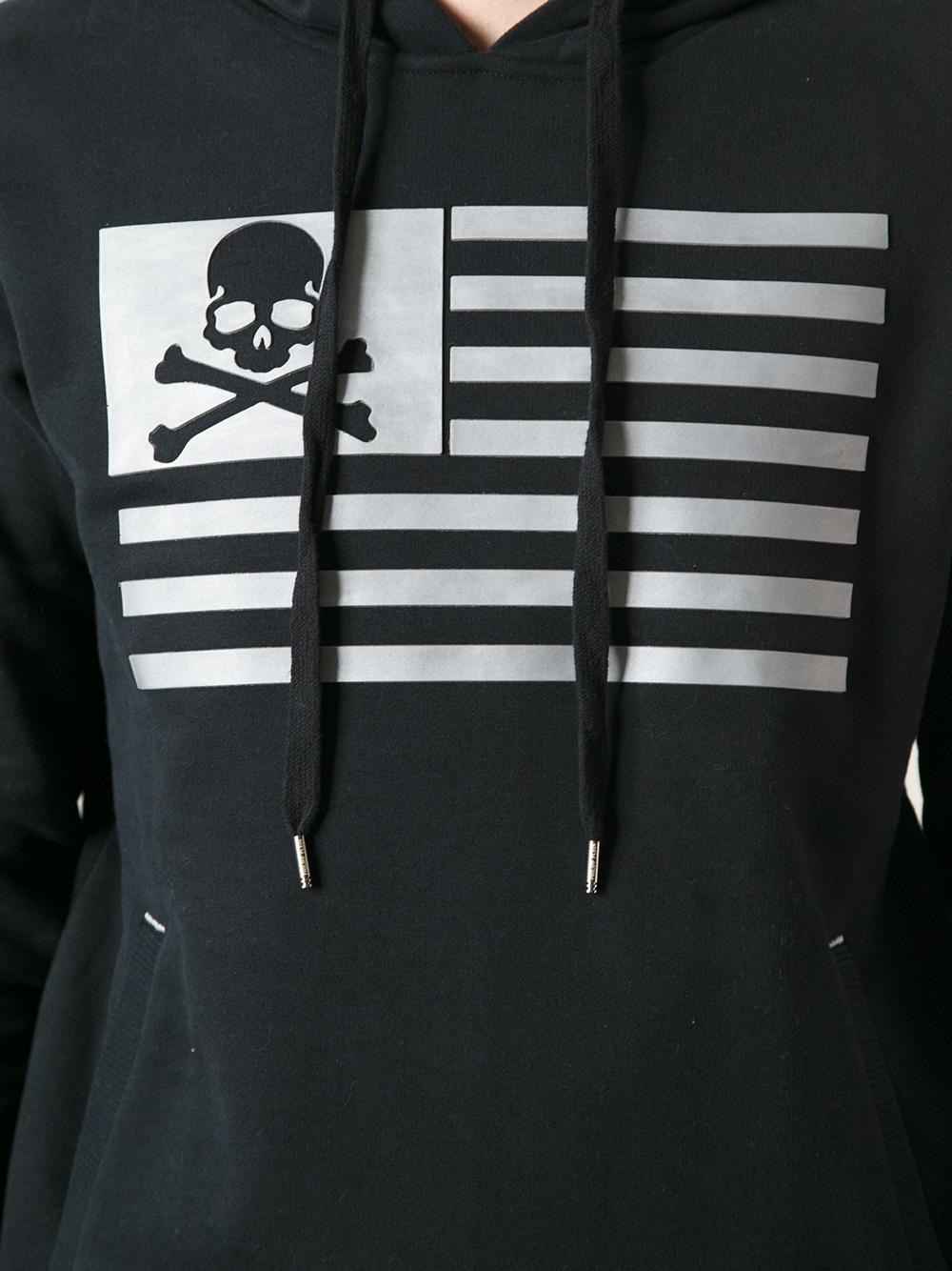 Philipp Plein Flag Print Hoodie In Black For Men Lyst