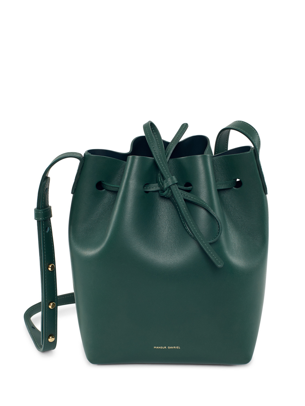 lyst mansur gavriel mini leather bucket bag in green. Black Bedroom Furniture Sets. Home Design Ideas