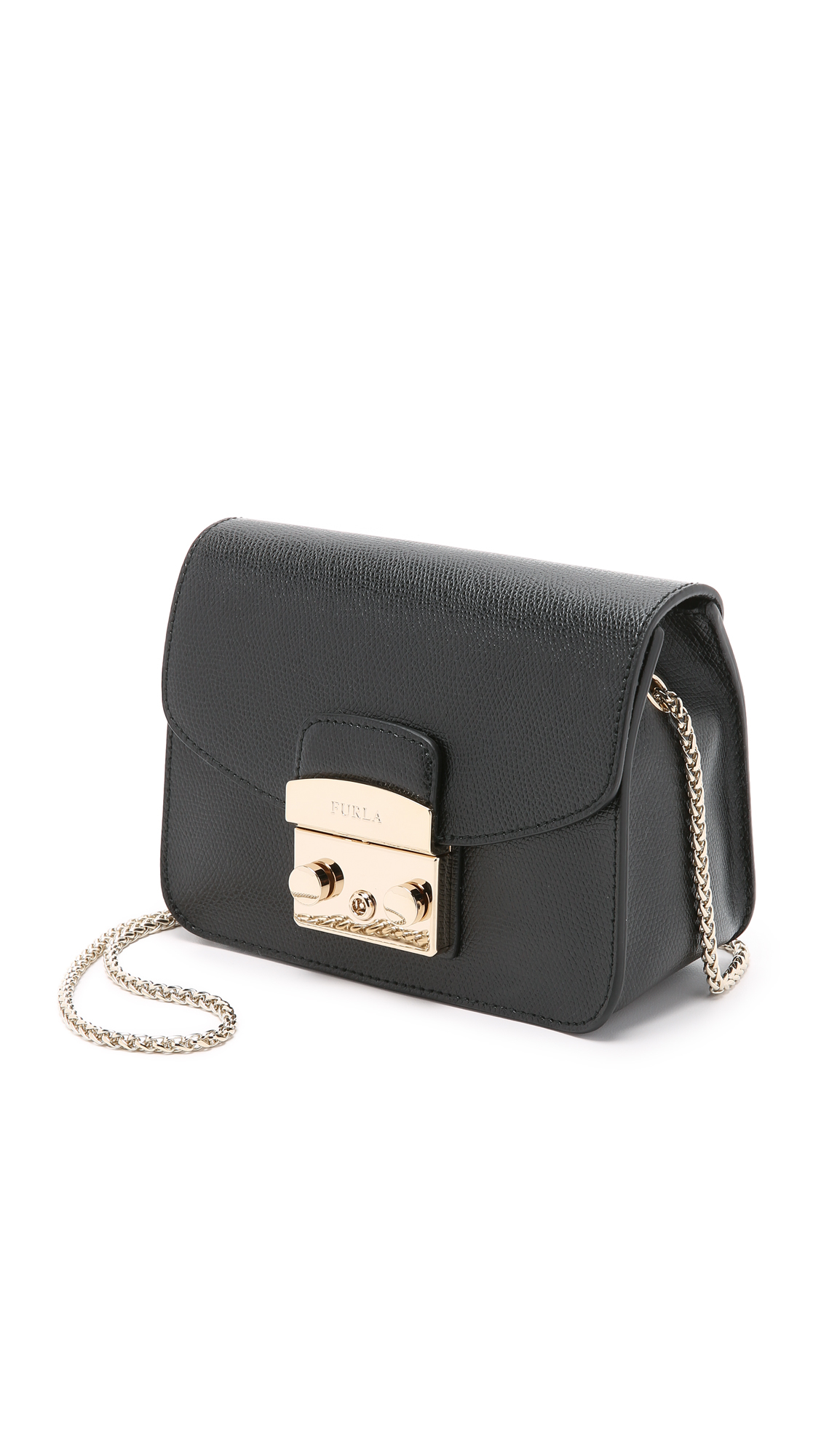 Furla Julia Mini Studded Leather Crossbody Bag In Black Lyst