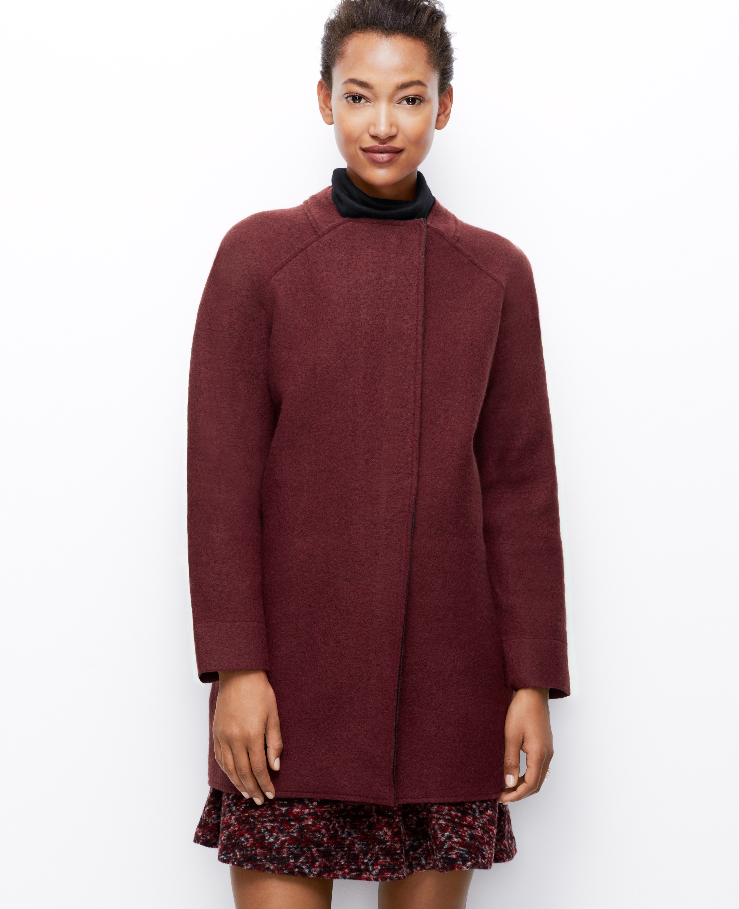 Ann taylor Petite Structured Sweater Coat in Red | Lyst