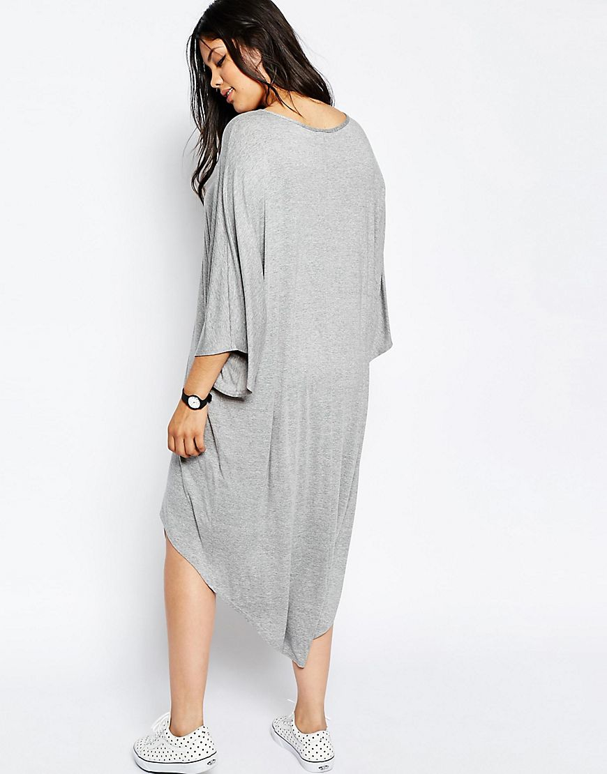 b2f6f641d79 Lyst - ASOS Curve T-shirt Dress With Dipped Hem And Kimono Sleeve in Gray