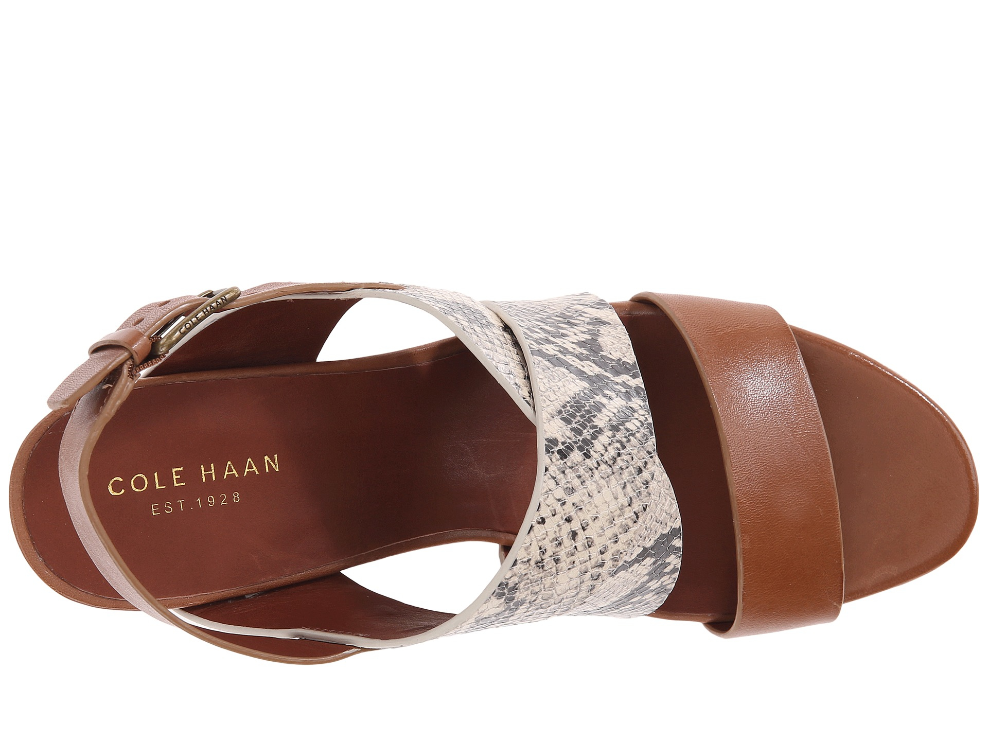 2f211fd987c9 Lyst - Cole Haan Penelope Strappy Leather Wedge Sandal in Brown