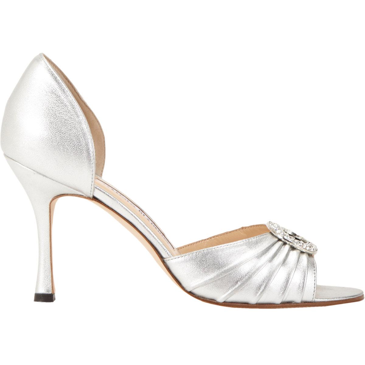 manolo blahnik silver sedaraby shoes