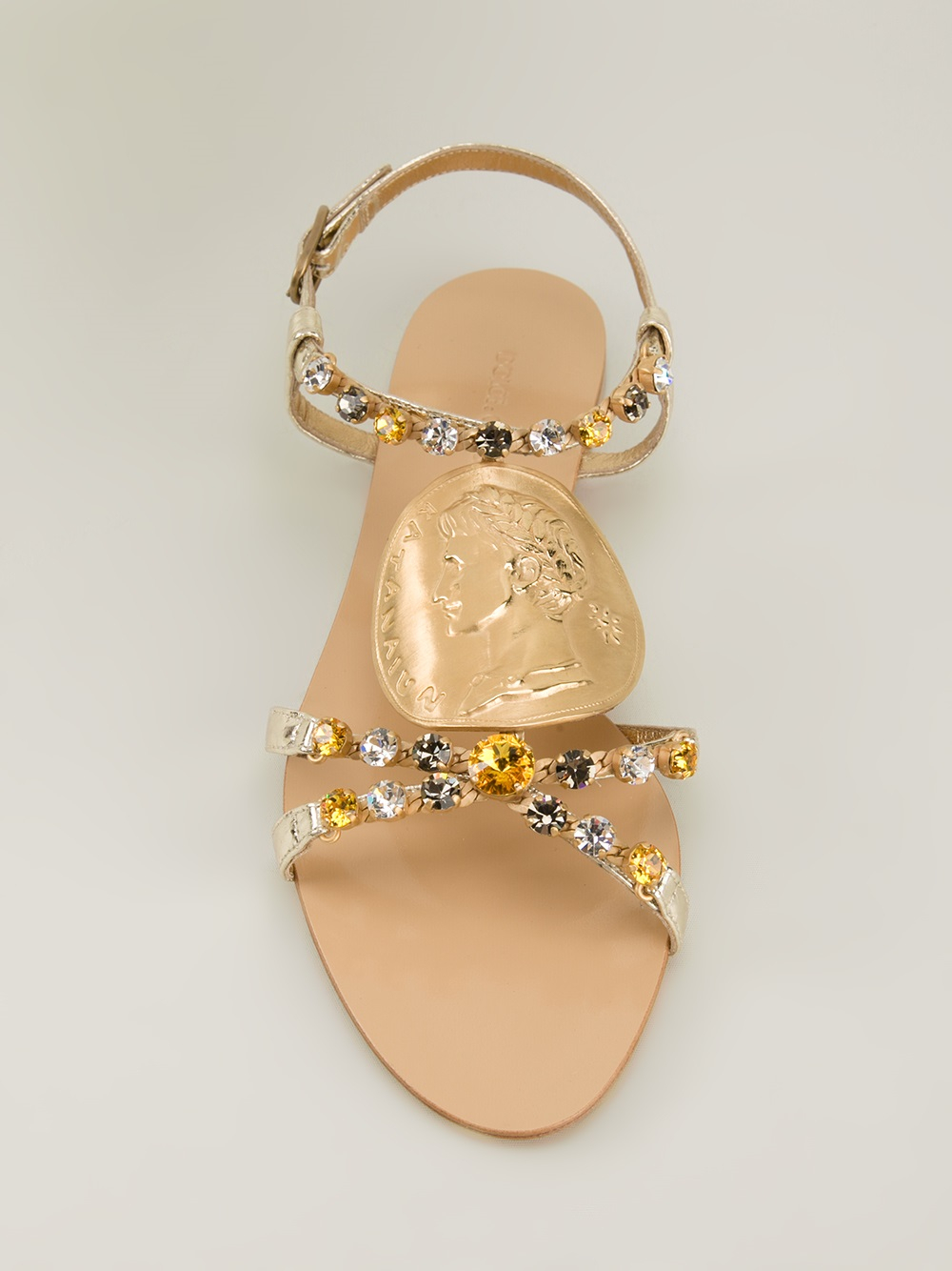 Lyst Dolce Amp Gabbana Embellished Flat Sandals In Metallic