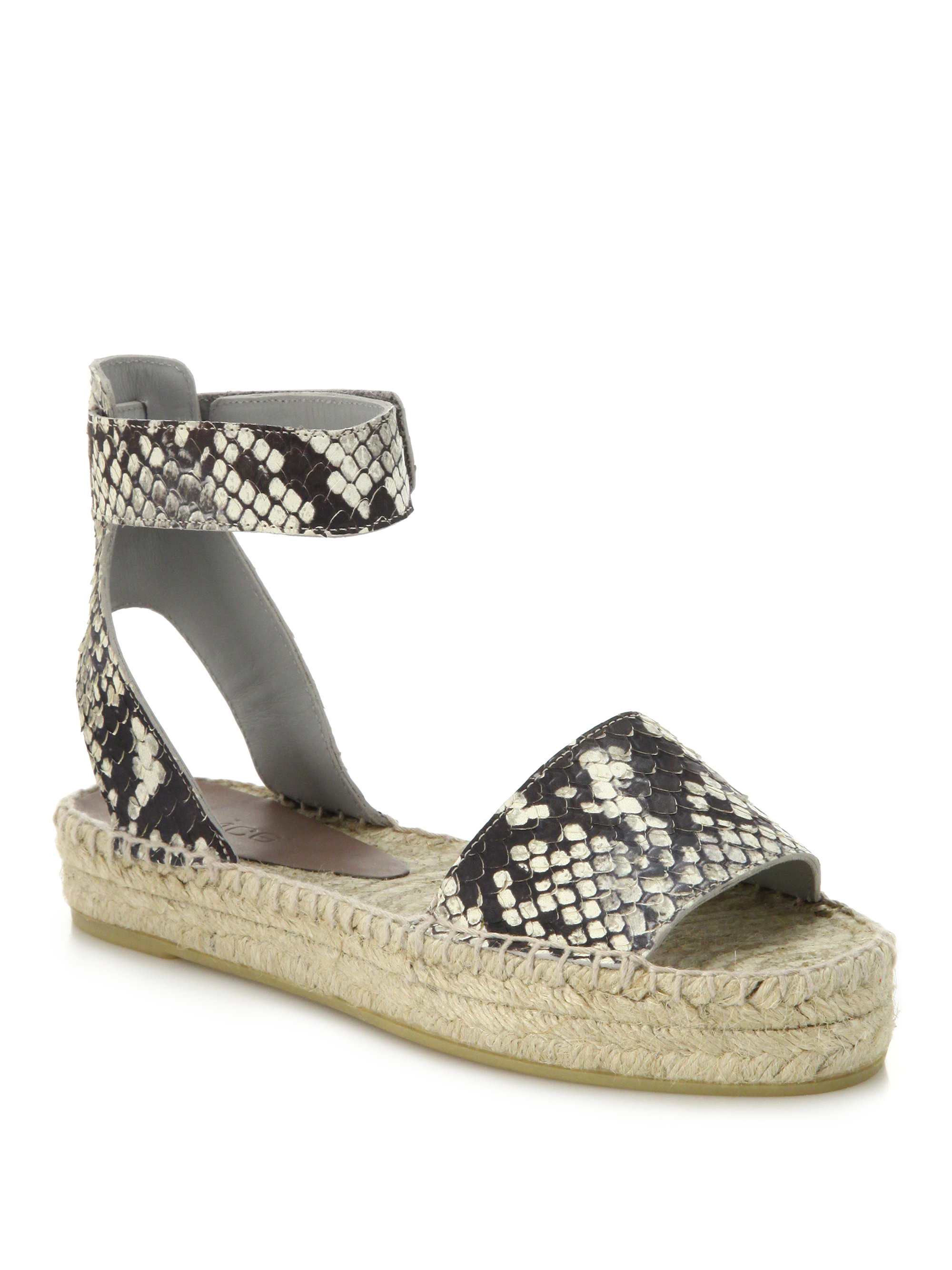 Lyst Vince Edie Snake Embossed Leather Espadrille