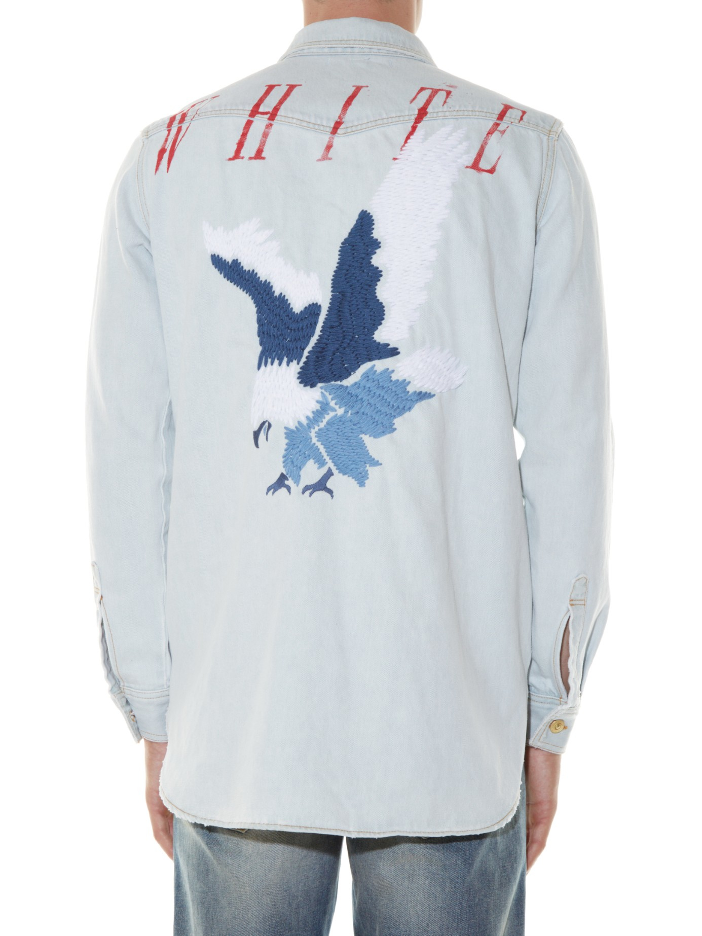 d55ccf95c194 Lyst - Off-White c o Virgil Abloh Eagle-embroidered Denim Shirt in ...