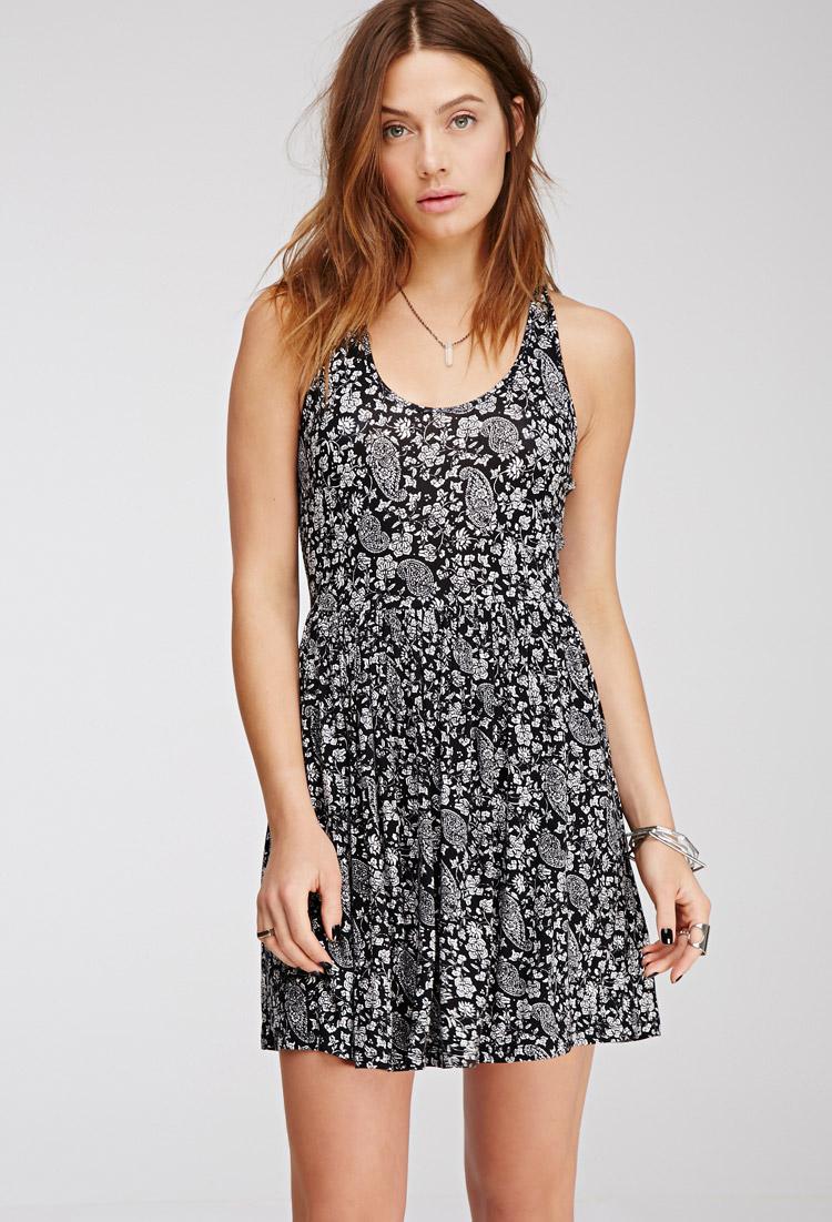 Lyst Forever 21 Paisley Print Dress In Black