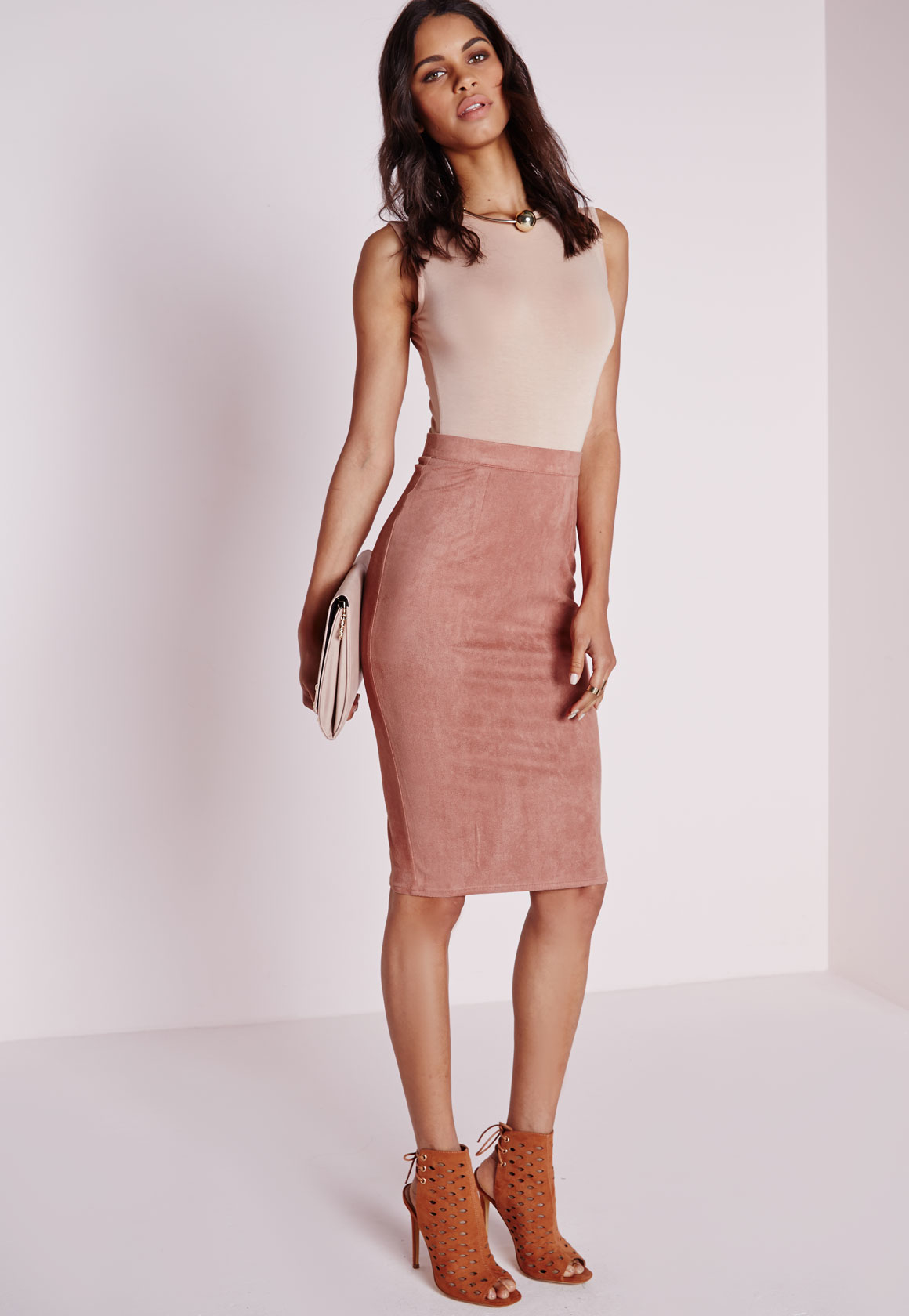 1d68427ab143 Missguided Berryana Faux Suede Midi Skirt Mauve in Pink - Lyst
